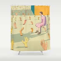 hands Shower Curtains featuring Hands by Nahal