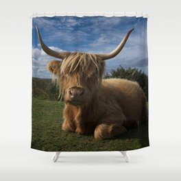 Rugged Highland Cow Shower Curtain
