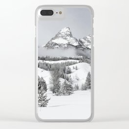 Grand Teton National Park Winter Black and White Clear iPhone Case