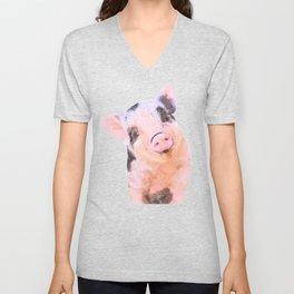 Baby Pig Turquoise Background Unisex V-Neck
