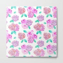 Purple and Pink Watercolor Roses Floral Pattern Metal Print