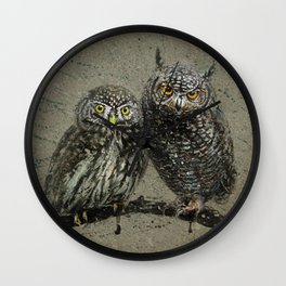 Little owl's background Wall Clock