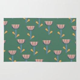 Folksy Floral Pattern in Green Rug