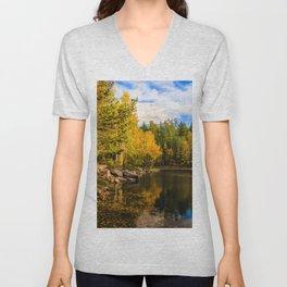 Autumn, Hidden Lake Unisex V-Neck