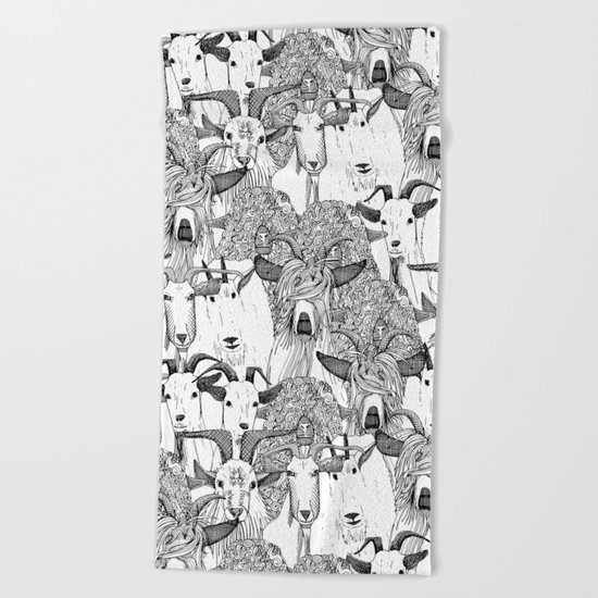 just goats black white Beach Towel