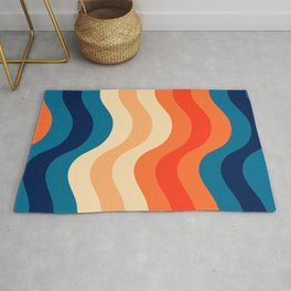70's and 80's retro colors curving stripes Rug