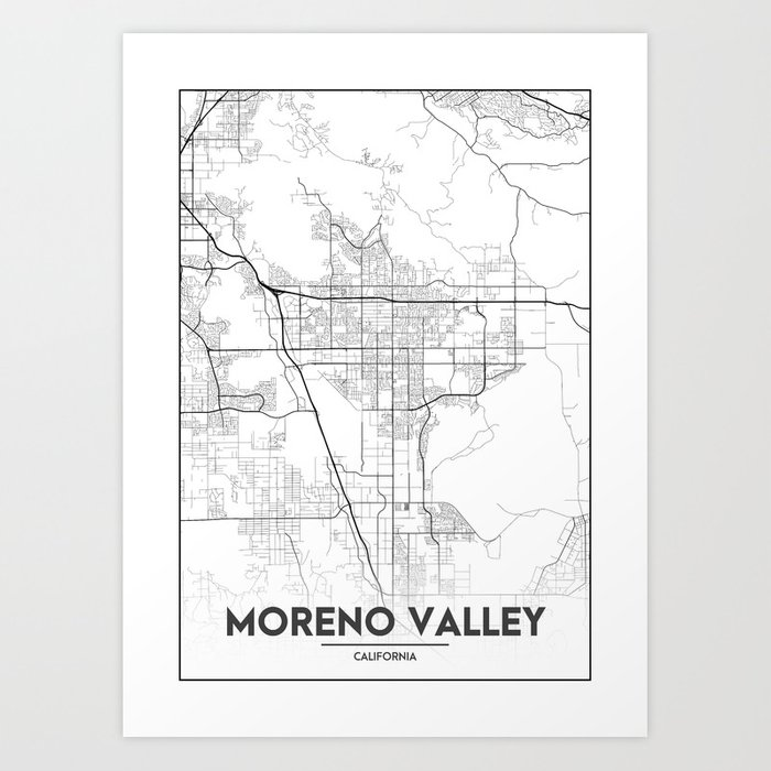 Minimal City Maps - Map Of Moreno Valley, California, United States on map of central valley ca, map of england valleys, map of israel valleys,