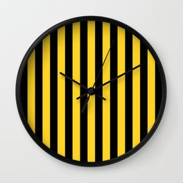 Yellow and Black Honey Bee Vertical Beach Hut Stripes Wall Clock
