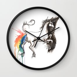 Unicorn rainbow poop Wall Clock