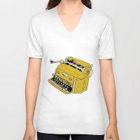grunge V-neck T-shirts featuring Grunge Typewriter by Nan Lawson