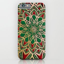 Islamic motive gold red and green ornate mandal iPhone Case