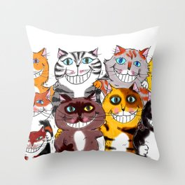 Happy Smiling Cats Throw Pillow