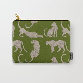 Leopard Block Party - Olive Carry-All Pouch