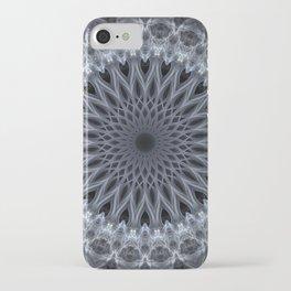 Grey and white mandala iPhone Case