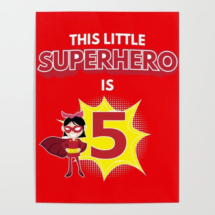 5th birthday superhero cartoon kids gift Poster