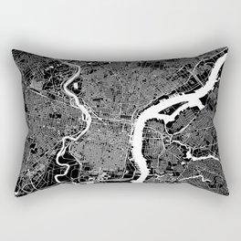 Philadelphia Black And White Map Rectangular Pillow