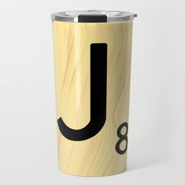 Scrabble J Decor, Scrabble Art, Large Scrabble Tile Initials Travel Mug
