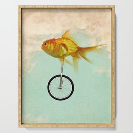 unicycle gold fish -2 Serving Tray
