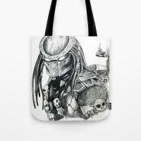 predator Tote Bags featuring Predator. by Gary Barling