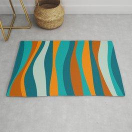 Liquid Stripes in Rust Orange Aqua Turquoise Teal  Rug