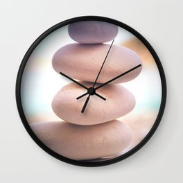 Zen beach rocks print, balancing pebbles, Yoga room art, Beach decor, wall art Wall Clock