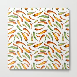 Watercolor seamless hand drawn pattern with red hot chilli peppers.  Metal Print