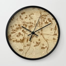 Vintage Map of London England Monuments (1877) Wall Clock