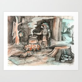 Forest witch's hut Art Print