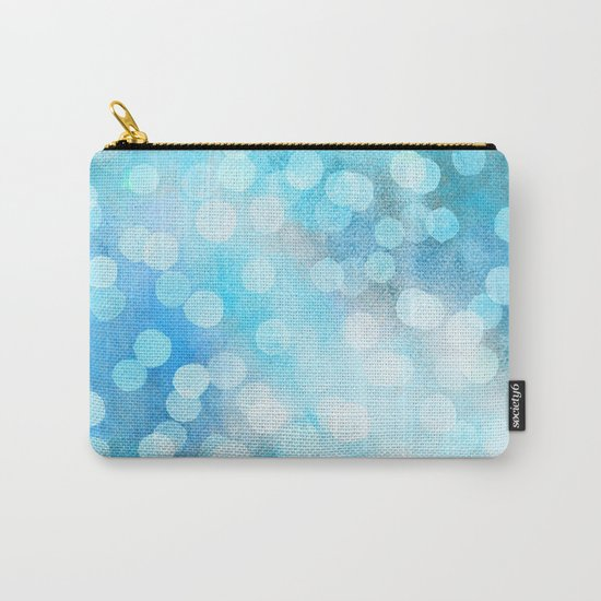 Turquoise Snowstorm - Abstract Watercolor Dots Carry-All Pouch