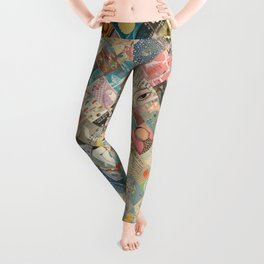 Vintage Japanese matchbox collage Leggings