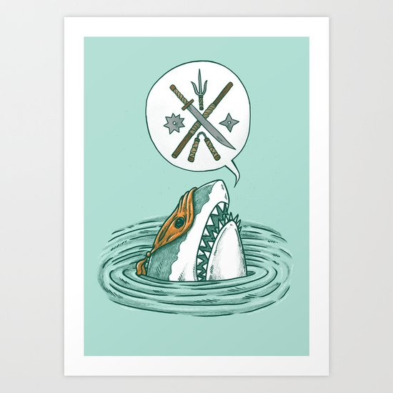 The Ninja Shark Art Print