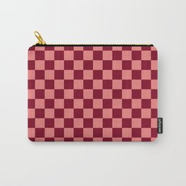 Coral Pink and Burgundy Red Checkerboard Carry-All Pouch