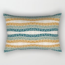 Mosaic Wavy Stripes in Blue-green, Terracotta and Olive Rectangular Pillow