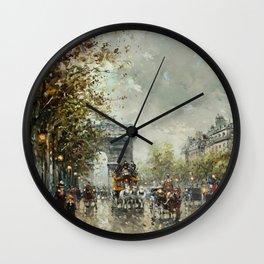 Avenue des Champs-Élysées, Paris, France by Antoine Blanchard Wall Clock