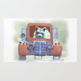 Raccoon Driving Old Red Truck Rug