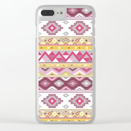 Modern Boho Aztec – Mulberry Pink and Plum Violet Clear iPhone Case