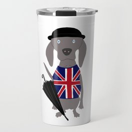 Brit Weim British Grey Ghost Weimaraner Dog Hand-painted Pet Drawing Travel Mug