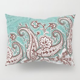 mint paisley inclined Pillow Sham