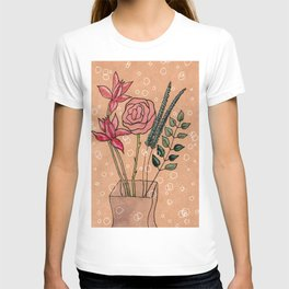 flowers on brown paper T-shirt