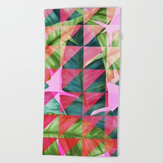 Abstract Hot Pink Banana Leaves Design Beach Towel