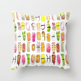 Sushi Watercolor-- Nigiri Sushi Throw Pillow