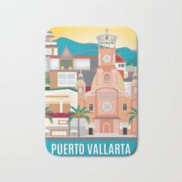 Puerto Vallarta, Mexico - Skyline Illustration by Loose Petals Bath Mat