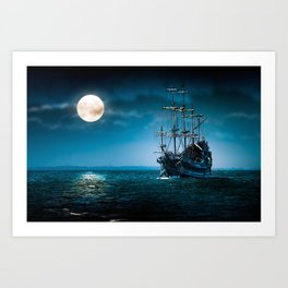 ship in the moonlight Art Print