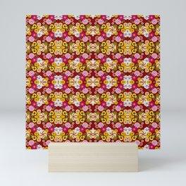 Maroon Retro Pattern Mini Art Print