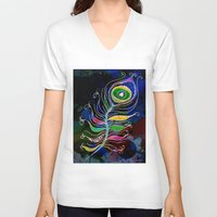 peacock feather V-neck T-shirts featuring Peacock Feather by SwanniePhotoArt