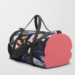 black and white leaves pink yellow white flowers jasmine Duffle Bag