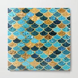 Glitter-Bling Blues, Aquas, & Gold Mermaid Scales Metal Print