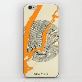 New York Map Moon iPhone Skin