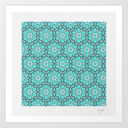 Symmetrical Flower Pattern in Turquoise Art Print