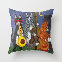 Jazz Cats Throw Pillow